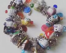 I LOVE OWLS, Charm Bracelet, owls, ceramic owls, Bohemian, hippie, charms bracelet, owl bracelet, by NewellsJewels on etsy