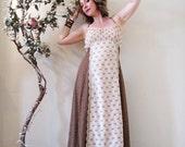 BIG ASS SALE vintage 70s calico print maxi dress brown cream floral hipping boho goddess garden party Spring Summer