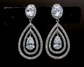bridal earrings wedding jewelry christmas party pageant prom clear white double hoop teardrop cubic zirconia oval cz rhodium silver post