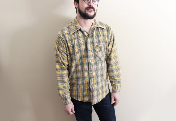 Vintage mens shirt plaid 1970s flannel yellow brown green for Mens yellow plaid flannel shirt