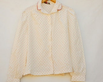 Vintage 70s-80s Polka Dot Peter Pan Collar Blouse By Russ Togs Retro