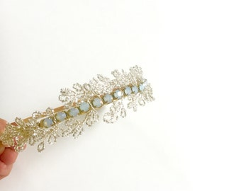 Isabelle - Periwinkle ,Silver headband, Bridal Headband, Winter wedding, Party, Maid of honor, - Ready To Ship