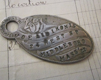 vintage dog tag - meta fob, bulldog, stamped metal tag
