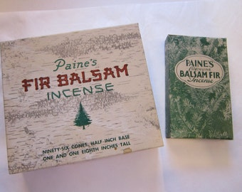 2 vintage BALSAM FIR incense boxes - empty boxes - great graphics