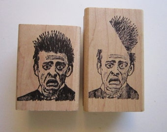 2 vintage rubber stamps - FLIPPED HIS LID - man with open head - circa 1992 - htf stamps - Stamp Francisco used rubber stamp