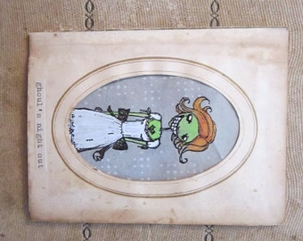 handmade card - GHOUL'S NiGHT OUT - goth girl in antique CDV frame - hand painted