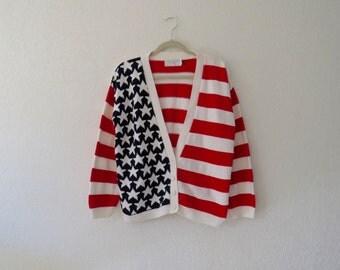 USA flag cardigan large