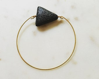 Lava Triangle Bangle, Essential oil diffuser jewelry