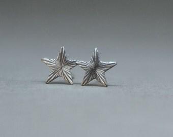 small silver star earrings - silver tiny star art nouveau stud earrings