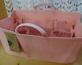 Purse/Diaper Bag Organizer Shaper / 12 x 6 /PASTEL PINK/Fits Neverfull MM / Stiff wipe-clean bottom, handles & 2 bottle loops/ Ready to ship