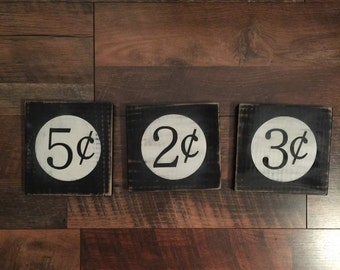 Wood Number Cent Sign