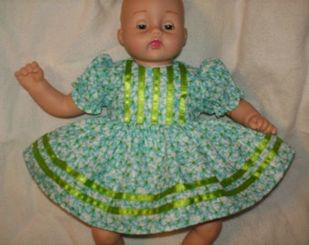 """10"""" 12"""" 14"""" American Made Smaller Girl Doll Clothes Delicate Blue Floral Print Baby Doll Dress with panties Fits smaller Girl Baby Dolls"""
