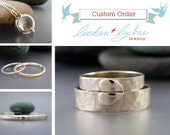 Custom order for Kiersten - hammered palladium wedding band set