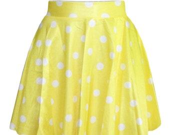 Yellow Polka Dot Skirt - Yellow with White Polka Dots Skater Skirt - Circle Skirt Polka Dot - Twirl Skirt - Summer 2017 Lightweight