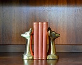 vintage mid-century brass fawn bookends