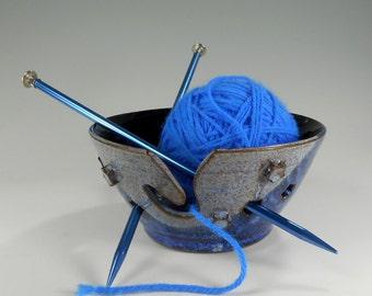 Ceramic knitting  bowl, pottery crochet tatting holder, stoneware yarn bowl, pottery yarn bowl with stars indigo blue glaze