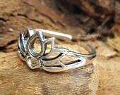 Sterling Silver Lotus Silhouette Toe Ring - C038, Wholesale, Ring Findings, Zen, Yoga Spirit Rings