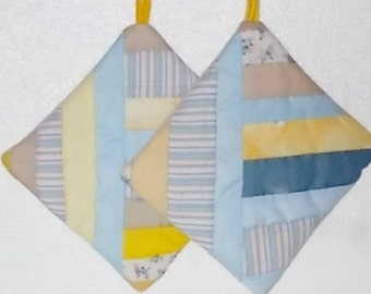 POTHOLDERS (#7)  Blues Yellow, String Traditional Quilt Pattern,  Made in GA,  Contemporary. Farm, Beach House Decor, Scrappy Colors