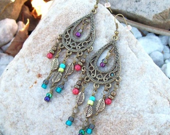 Gypsy Hippie Earrings - Colorful dangle earrings, Glass Beaded Earrings - Boho Chic - Antiqued Chandelier Earrings