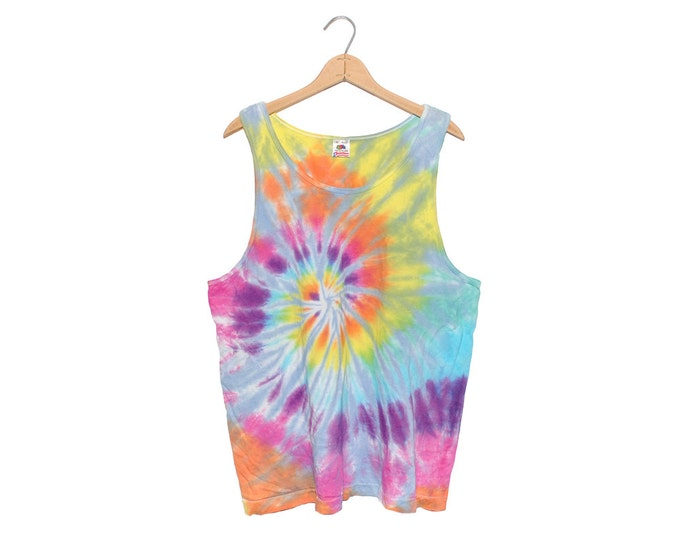 Vintage Handmade Multi-Color Psychadelic Tie Dye 100% Cotton Tank Top (OS-TS-26)