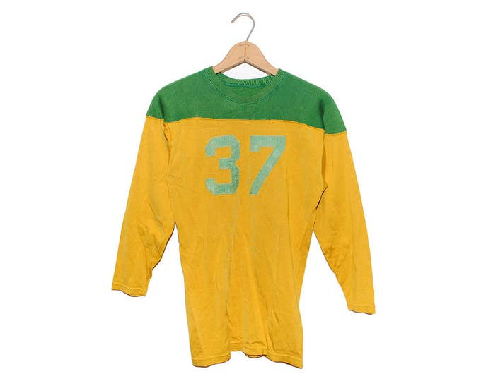 Vintage Green & Gold #37 Old Football Rayon Jersey Shirt Made in USA - Large (OS-AS-2)