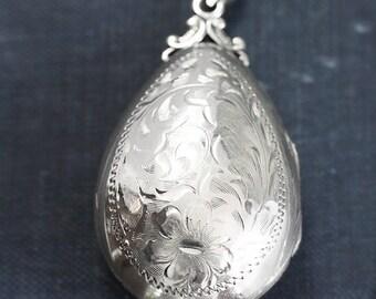 Sterling Silver Teardrop Locket Necklace, Rare Unusual Tear Drop Shaped Flower Engraved Photo Pendant - Raindrop