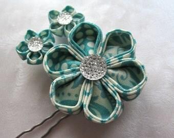 Mint Medly Kanzashi Flower Finishing Pin