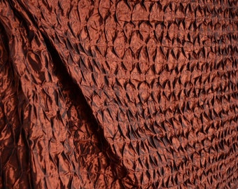 Red Orange Iridescent Gathered Textured Polyester Curtain Fabric