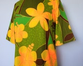 Flower power 60s mod designer hawaiian dress in vibrant green yellow and orange