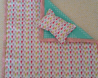 Doll bedding, doll quilt, doll blanket, doll pillow