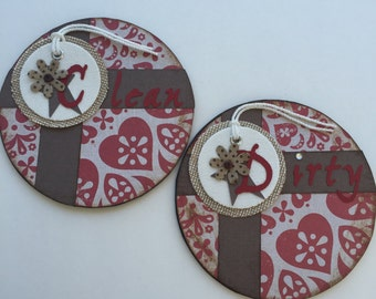 Clean/Dirty/Dishwasher/Magnets/House Warming Gift/Red/Brown/Fall