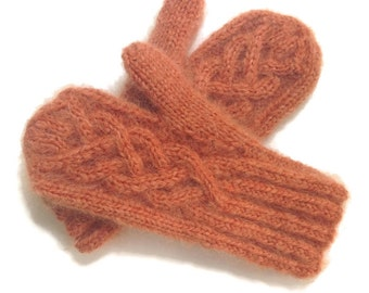 Wool Mittens Knitted Rust Mohair Celtic Cable One Size Women's Mittens Fuzzy Mittens Hand Knitted Orange Hand Knit Mittens