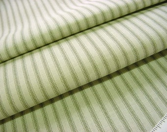 Vintage Decorator Fabric -Burlap Beige with Sage Green Ticking Stripe Home Decor Drapery Cotton - Minimalist to Rustic Primitive BTY