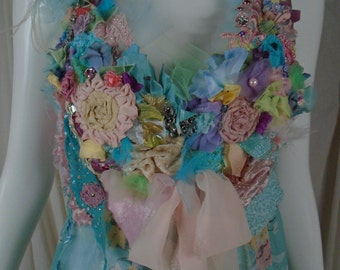 Chantelle top-jacket, Art to wear Floral Garden Inspired Tribal Boho Cinderella Style