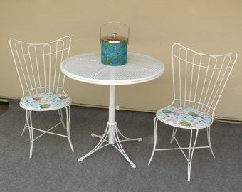 Mid Century Wrought Iron Patio Chairs with Table local PICK UP ONLY
