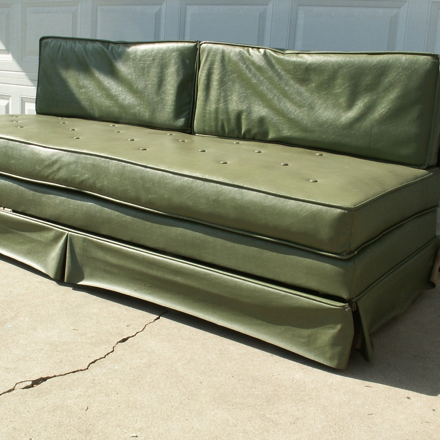Vintage Green Vinyl Sofa Trundle Bed By Lookingforyesterday