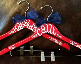 ONE custom painted CHEER or dance hanger for schools or competitions, single hanger ONLY
