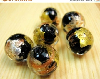 20% OFF ON SALE Silver Foil Lampwork Glass Black 12mm Round Beads