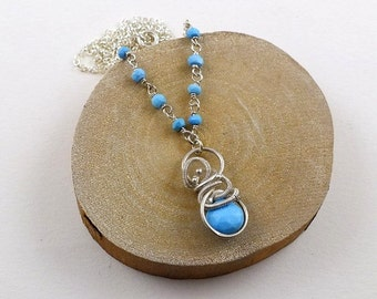 Turquoise necklace, wire wrapped jewelry, gemstone small pendant, sterling silver jewelry