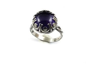 Amethyst retro ring, metalwork ring, sterling silver jewelry, gemstone ring