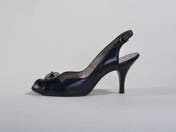 Vintage 1950s Navy Blue Shoes - Peep Toe Leather - 1960s Summer Fashions