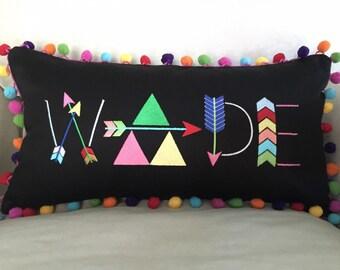 Arrow Font Rainbow Pom Pom Pillow Cover