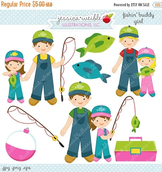 SALE Fishin Buddy Girl Cute Digital Clipart - Commercial Use OK - Fishing Clipart, Fishing Graphics, Girl Fishing