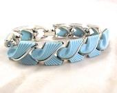 Sky Blue and Metallic Silver Bracelet, Vintage Lisner Costume Jewelry Piece