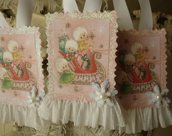 Vintage Christmas card paper ornament Pink and white angels Christmas gift tag glittered pink white Shabby Chic Christmas ornament decor