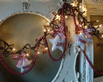 Pre lit Christmas garland grapevine stars with fabric star ornaments lighted garland Country Christmas rustic home decor natural