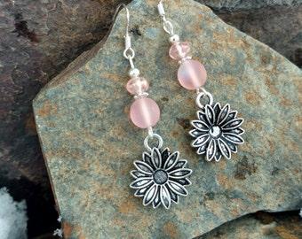 Pink Flower Earrings, Pink Flower Sterling Silver Dangle Earrings, Flower Pink Sterling Silver Dangle Earrings, Flower Earrings