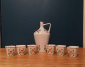 Vintage Hollohaza Hungary 1834 Porcelain Decanter And 6 Shot Glasses Set