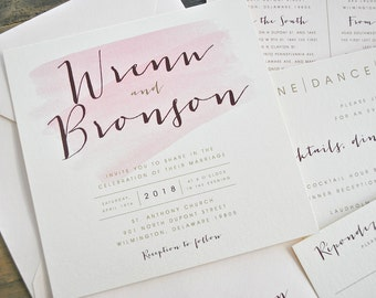 Square Bronson Wedding Invitation Suite with Belly Band - Blush Pink Watercolor, Burgundy, Champagne Gold, Ivory (colors/text customizable)
