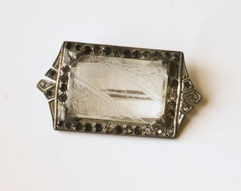Antique Clear Glass Brooch Etched Glass Pin